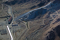 aerial photograph of the Julian Hinds Pumping Plant, Colorado River Aqueduct, Desert Center, Riverside County, California which lifts water 441 feet to an elevation of 1807