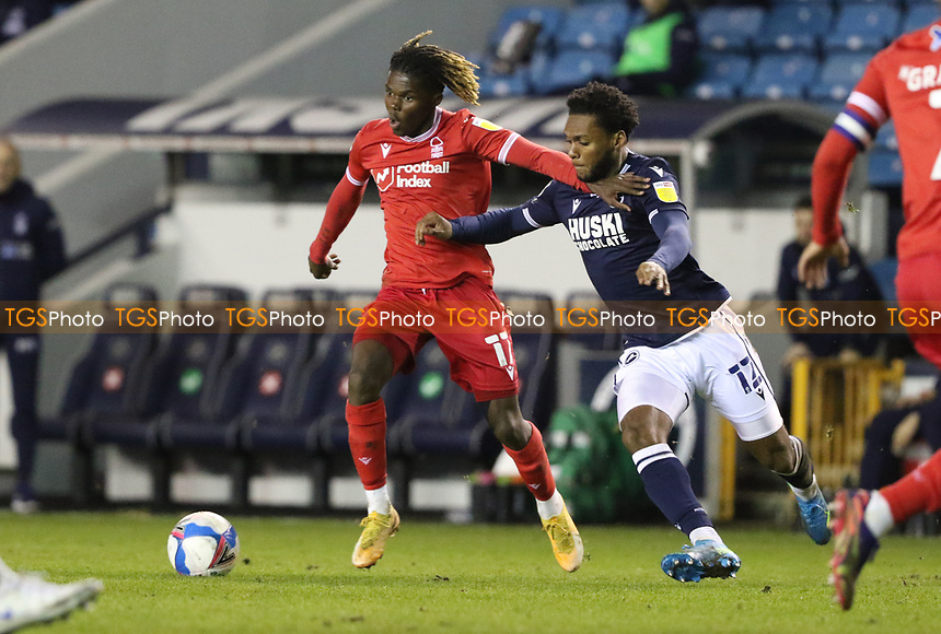 Alex Mighten of Nottingham Forest under pressure from Mahlon Romeo of Millwall during Millwall vs Nottingham Forest, Sky Bet EFL Championship Football at The Den on 19th December 2020