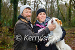Stephen Black, Rose McGoff and Patch the dog enjoying a stroll in the town park in Killarney on Saturday.