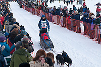 Chad Lindner team leaves the start line during the restart day of Iditarod 2009 in Willow, Alaska