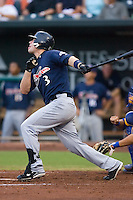 Right fielder Matt LaPorta (3) of the Huntsville Stars follows through on his swing at the Baseball Grounds in Jacksonville, FL, Wednesday June 11, 2008.