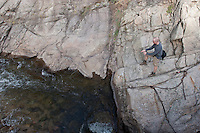 Tim Thorn fishes Boulder creek with a Fat Tire in waiting.