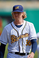 Montgomery Biscuits pitcher Sam McWilliams (36) before a Southern League game against the Mobile BayBears on May 2, 2019 at Riverwalk Stadium in Montgomery, Alabama.  Mobile defeated Montgomery 3-1.  (Mike Janes/Four Seam Images)