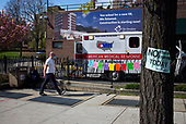 """April 12, 2020<br /> Brooklyn, New York<br /> <br /> The Brooklyn Hospital Center in Fort Greene is decorated with """"Thank You"""" messages as it is one of many intake hospitals for coronavirus patients in Brooklyn."""