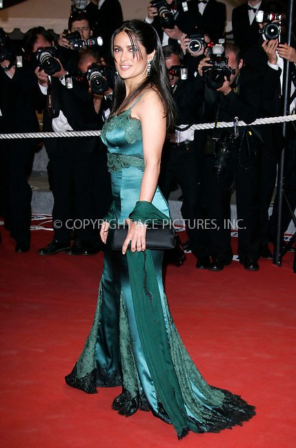 WWW.ACEPIXS.COM . . . . .  ... . . . . US SALES ONLY . . . . .....CANNES, MAY 13, 2005....Salma Hayek at the premiere of 'Where the Truth Lies' during the Cannes Film Festival.....Please byline: FAMOUS-ACE PICTURES-H. BOESL... . . . .  ....Ace Pictures, Inc:  ..Craig Ashby (212) 243-8787..e-mail: picturedesk@acepixs.com..web: http://www.acepixs.com