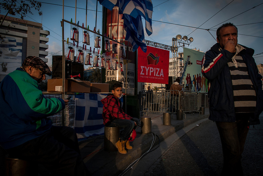 Athens, Greece, January 22, 2015. Omonia square, waiting for the final political rally by Alexis Tsipras (Syriza).