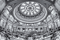 An interior view of the Senate Chamber in the Mississippi State Capitol in Jackson, Mississippi.