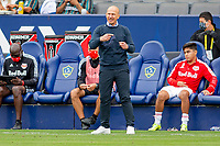 CARSON, CA - APRIL 25: Gerhard Struber head coach of the New York Red Bulls giving directions during a game between New York Red Bulls and Los Angeles Galaxy at Dignity Health Sports Park on April 25, 2021 in Carson, California.