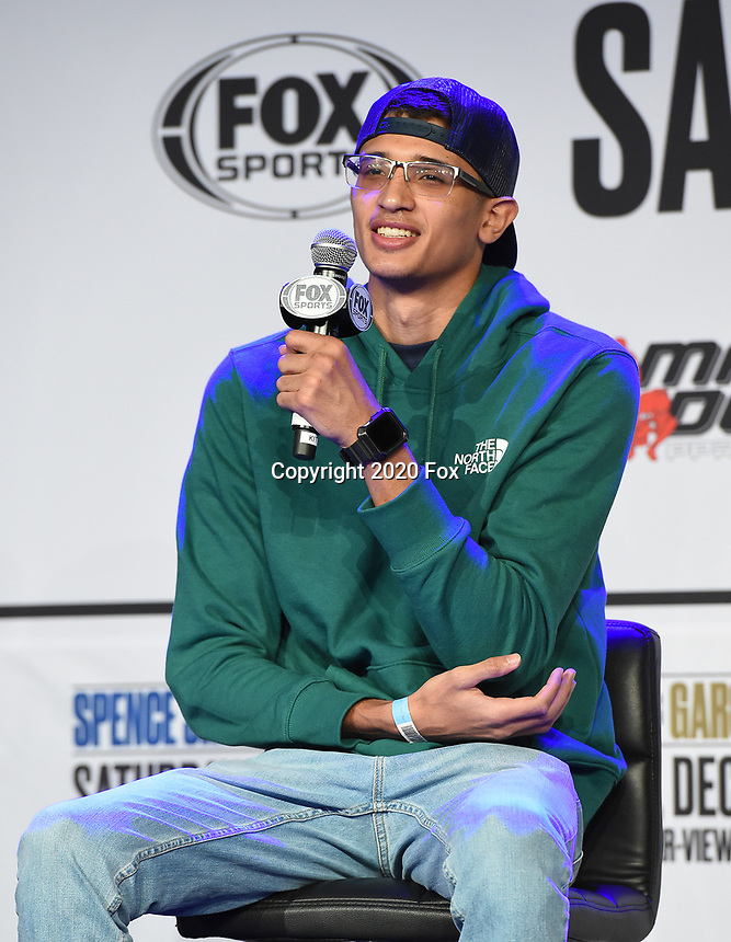DALLAS, TX - DECEMBER 3: Sebastian Fundora attends the undercard press conference for the Errol Spence Jr. vs Danny Garcia December 5, 2020 Fox Sports PBC Pay-Per-View title fight at AT&T Stadium in Arlington, Texas. (Photo by Frank Micelotta/Fox Sports)