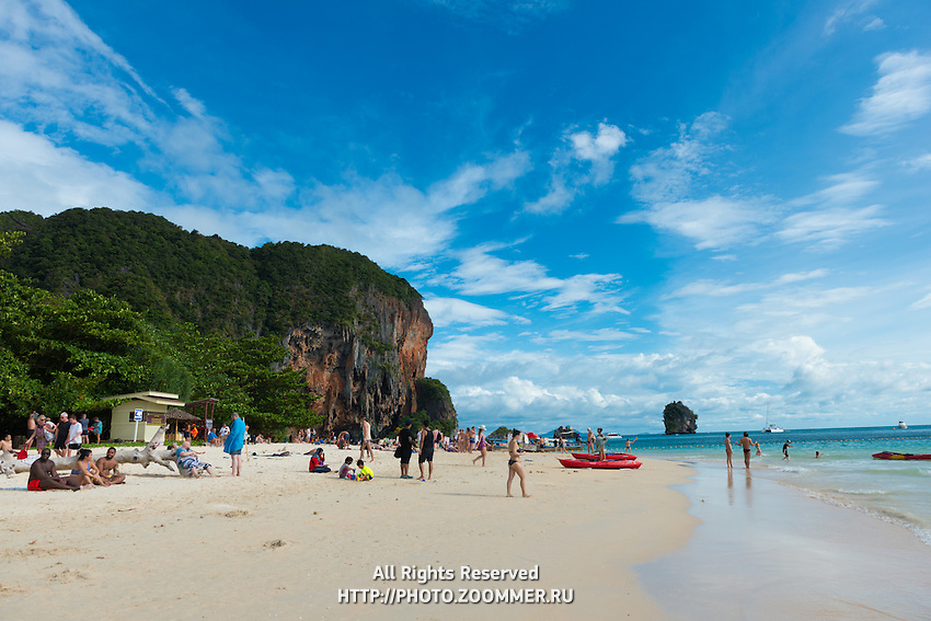 Scenic view of Phra Nang beach on a bright day in Krabi, Thailand