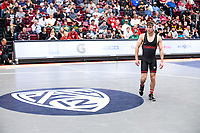 STANFORD, CA - March 7, 2020: Jackson DiSario of Stanford during the 2020 Pac-12 Wrestling Championships at Maples Pavilion.
