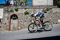 Taco van der Hoorn (NED/Intermarché - Wanty - Gobert) at a crazy fast descent mid-race<br /> <br /> 104th Giro d'Italia 2021 (2.UWT)<br /> Stage 12 from Siena to Bagno di Romagna (212km)<br /> <br /> ©kramon