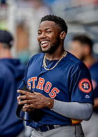 27 February 2019: Houston Astros outfielder Ronnie Dawson smiles in the dugout after coming in to score against the Washington Nationals at the Ballpark of the Palm Beaches in West Palm Beach, Florida. The Nationals defeated the Astros 14-8 in their Spring Training Grapefruit League matchup. Mandatory Credit: Ed Wolfstein Photo *** RAW (NEF) Image File Available ***