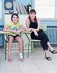 Actresses Andrea Fandos and Natalia de Molina (r) attend to the media during 'Las Ninas' filming. August 2, 2019. (ALTERPHOTOS/Francis González)
