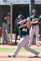 Beau Taylor #44 of the Oakland Athletics bats during a Minor League Spring Training Game against the Los Angeles Angels at the Los Angeles Angels Spring Training Complex on March 17, 2014 in Tempe, Arizona. (Larry Goren/Four Seam Images)