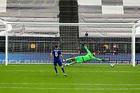 29th September 2020; Tottenham Hotspur Stadium, London, England; English Football League Cup, Carabao Cup, Tottenham Hotspur versus Chelsea; Hugo Lloris of Tottenham Hotspur cannot reach the penalty by Jorginho of Chelsea