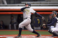 April 11, 2008:  University of Michigan Wolverines starting infielder Nate Recknagel (21) hitting a home run against the University of Illinois Fighting Illini at Illinois Field in Champaign, IL.  Photo by:  Chris Proctor/Four Seam Images