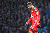 Lukasz Fabianski looks dejected as he stands in the rain during the Barclays Premier League Match between Manchester City and Swansea City played at the Etihad Stadium, Manchester on 12th December 2015