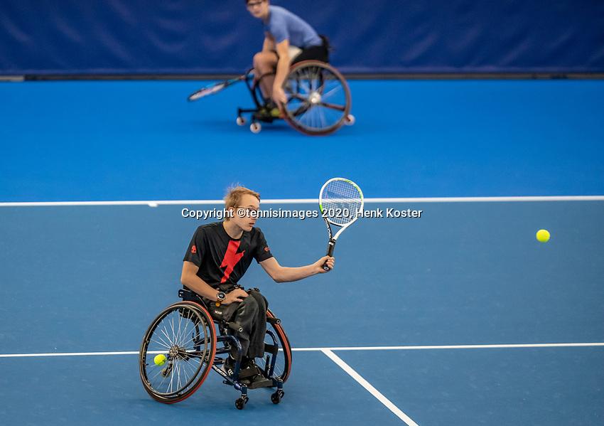 Amstelveen, Netherlands, 12  December, 2020, National Tennis Center, NTC, NKR, National   Indoor Wheelchair Tennis Championships, Junior doubles final Final :   <br /> Photo: Henk Koster/tennisimages.com