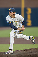 Michigan Wolverines pitcher Jackson Lamb (10) follows through on his delivery to the plate against the Central Michigan Chippewas on May 9, 2017 at Ray Fisher Stadium in Ann Arbor, Michigan. Michigan defeated Central Michigan 4-2. (Andrew Woolley/Four Seam Images)