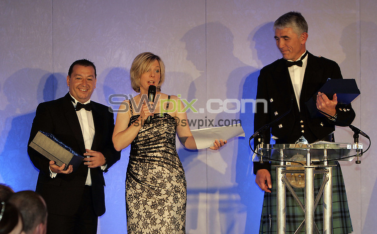 PICTURE BY SIMON WILKINSON/SWPIX.COM - Rugby Union - Scottish Rugby Awards Dinner 2008 - Murrayfield, Edinburgh, Scotland - 16/05/08...Copyright - Simon Wilkinson - 07811267706..Hazel Irvine speaks with Eamon John and Graham Marshall, winners of Coach and Youth Coach of the Season Awards.