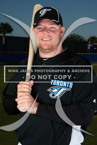 March 1, 2010:  Catcher Matt Liuzza (75) of the Toronto Blue Jays poses for a photo during media day at Englebert Complex in Dunedin, FL.  Photo By Mike Janes/Four Seam Images