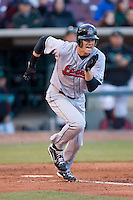 Kyle Russell #25 of the Great Lakes Loons hustles down the first base line versus the Dayton Dragons at Fifth Third Field April 22, 2009 in Dayton, Ohio. (Photo by Brian Westerholt / Four Seam Images)
