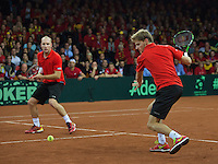 Gent, Belgium, November 28, 2015, Davis Cup Final, Belgium-Great Britain, day two, doubles match, David Goffin (R)/Steve Darcis (BEL) <br /> Photo: Tennisimages/Henk Koster