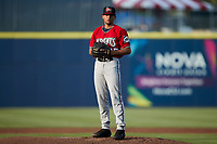 Carolina Mudcats starting pitcher Jhoan Cruz (25) looks to his catcher for the sign against the Kannapolis Cannon Ballers at Atrium Health Ballpark on June 10, 2021 in Kannapolis, North Carolina. (Brian Westerholt/Four Seam Images)