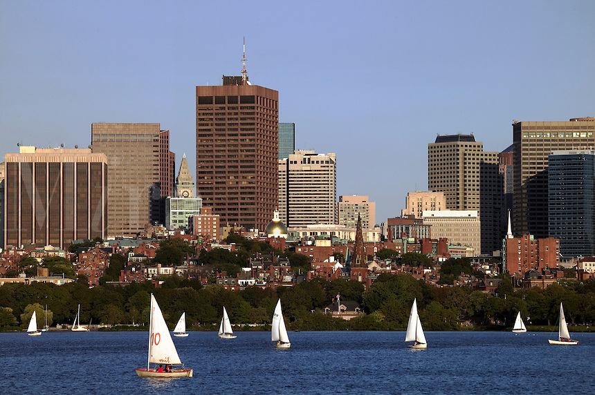Sailboats on the Charles River with Boston, MA skyline in backgroun