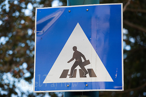 09 SEP 2010 - BUDAPEST, HUN - Pedestrian crossing sign .(PHOTO (C) NIGEL FARROW)