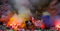 Fudbal, Jelen super liga, sezona 2011/12.Crvena Zvezda Vs. Hajduk (Kula ).Delije, navijaci, zastave, dime bombe, smoke bombs, fans, supporters, flgs.Belgrade, 31.03.2012..foto: Srdjan Stevanovic/Starsportphoto ©