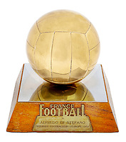 BNPS.co.uk (01202 558833)<br /> Pic: Julien'sAuctions/BNPS<br /> <br /> Pictured: Alfredo Di Stefano 1957 Paris, France, Ballon D'Or Award.<br /> <br /> An epic collection of medals, trophies, shirts and personal items relating to footballing legend Alfredo Di Stefano is being sold by his family for over £1m.<br /> <br /> Many of the awards won by the great goalscorer have, until recently, been on display at the Real Madrid Museum, the club where he played for most of his career.<br /> <br /> The Argentine-born striker is regarded as one of the best players of all-time and is often compared to Cristiano Ronaldo.<br /> <br /> During Di Stafano's time with Real Madrid in the 1950s and '60s, the Spanish giants dominated European football, largely due to his goals and assists.
