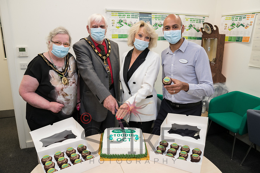 Celebrating the 1,000th OCT machine for Specsavers from left are Mayoress Wendy Lawrence, Mayor of Gedling Meredith Lawrence, TV Star Sherrie Hewson and Store Director Vineet Nehra,