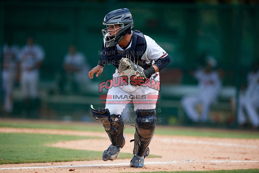 GCL Braves catcher Victor De Hoyos (2) during the second game of a doubleheader against the GCL Yankees West on July 30, 2018 at Champion Stadium in Kissimmee, Florida.  GCL Braves defeated GCL Yankees West 5-4.  (Mike Janes/Four Seam Images)