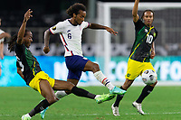 DALLAS, TX - JULY 25: Gianluca Busio #6 of the United States shoots the ball during a game between Jamaica and USMNT at AT&T Stadium on July 25, 2021 in Dallas, Texas.
