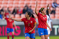 HOUSTON, TX - JANUARY 28: Gabriela Guillen #2 of Costa Rica reacts to a call during a game between Costa Rica and Panama at BBVA Stadium on January 28, 2020 in Houston, Texas.