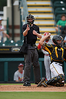 Umpire Louie Krupa calls a strike behind catcher Deon Stafford during a Florida State League game between the Palm Beach Cardinals and Bradenton Marauders on May 10, 2019 at LECOM Park in Bradenton, Florida.  Bradenton defeated Palm Beach 5-1.  (Mike Janes/Four Seam Images)