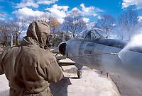 -  Italian army, Interforces School for NBC war, decontamination of an old fighter aircraft F 104 Starfighter ....- Esercito Italiano, Scuola Interforze di guerra NBC, decontaminazione di un vecchio aereo da caccia F 104 Starfighter