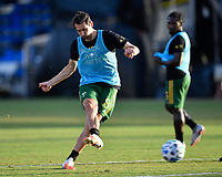 LAKE BUENA VISTA, FL - JULY 18: Diego Valeri #8 of the Portland Timbers takes a shot during a game between Houston Dynamo and Portland Timbers at ESPN Wide World of Sports on July 18, 2020 in Lake Buena Vista, Florida.