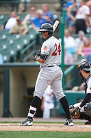 Indianapolis Indians right fielder Willy Garcia (24) during a game against the Rochester Red Wings on May 26, 2016 at Frontier Field in Rochester, New York.  Indianapolis defeated Rochester 5-2.  (Mike Janes/Four Seam Images)