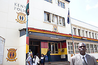 Detective Patrick Simiyu leaves Nairobi central police station for court.
