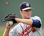 Photo of the Rome Braves in a game against the Greenville Drive on Tuesday, August 20, 2013, at Fluor Field at the West End in Greenville, South Carolina. (Tom Priddy/Four Seam Images)