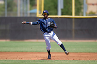 San Diego Padres shortstop Jordy Barley (15) makes a throw to first base during an Instructional League game against the Texas Rangers on September 20, 2017 at Peoria Sports Complex in Peoria, Arizona. (Zachary Lucy/Four Seam Images)