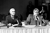 Montreal (QC) Canada- - DEc  1986 File Photo- CRTC Hearing- - Andre Chagnon<br />  Videotron (L), Roland Giguere, Tele-Metropole (R)