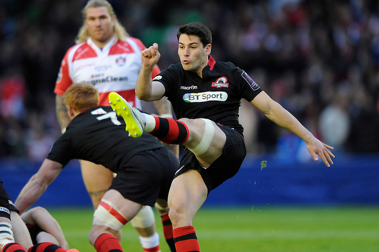 Sam Hidalgo-Clyne of Edinburgh Rugby clears his line