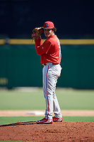 Philadelphia Phillies pitcher Victor Santos (75) gets ready to deliver a pitch during a Florida Instructional League game against the New York Yankees on October 12, 2018 at Spectrum Field in Clearwater, Florida.  (Mike Janes/Four Seam Images)