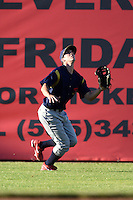 State College Spikes outfielder Chase Raffield (18) tracks down a fly ball during a game against the Batavia Muckdogs on June 22, 2014 at Dwyer Stadium in Batavia, New York.  State College defeated Batavia 10-3.  (Mike Janes/Four Seam Images)
