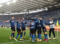 Football, Serie A: AS Roma -  FC Internazionale Milano, Olympic stadium, Rome, January 10, 2021. <br /> Inter's Achraf Hakimi celebrates after scoring with his teammates during the Italian Serie A football match between Roma and Inter at Rome's Olympic stadium, on January 10, 2021.  <br /> UPDATE IMAGES PRESS/Isabella Bonotto