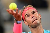 11th October 2020, Roland Garros, Paris, France; French Open tennis, mens singles final 2020; Rafael Nadal Esp serves to Djokovic